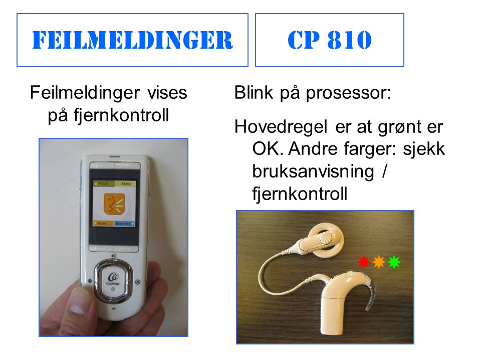 Feilmeldinger CP 810 Feilmeldinger vises på fjernkontroll