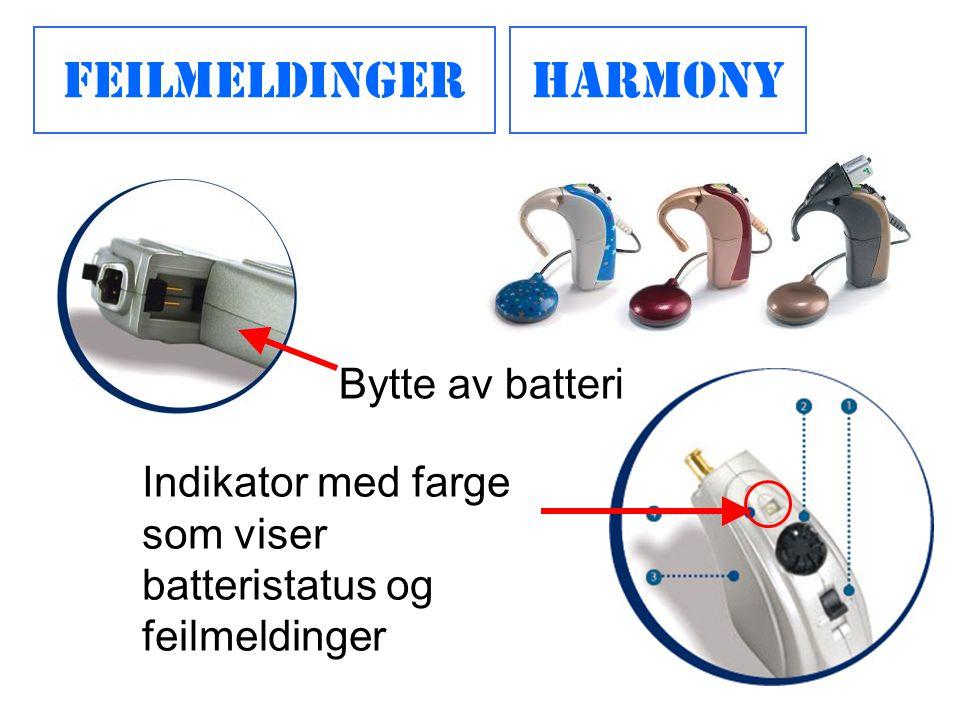 Feilmeldinger Harmony Bytte av batteri