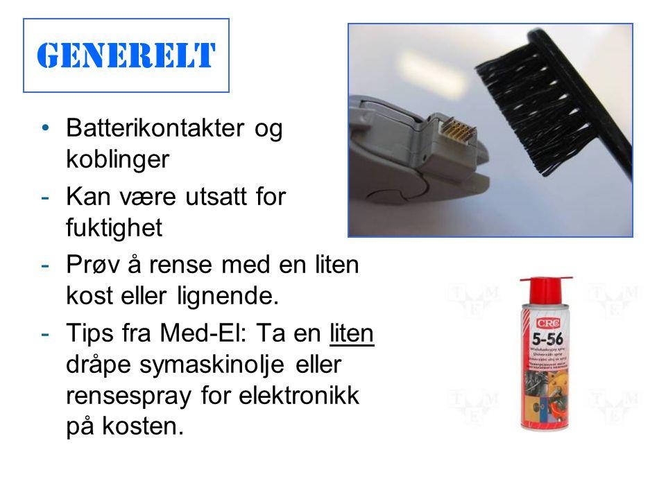 Generelt Batterikontakter og koblinger Kan være utsatt for fuktighet