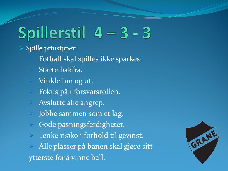 Spillerstil 4 – 3 - 3 Fotball skal spilles ikke sparkes.