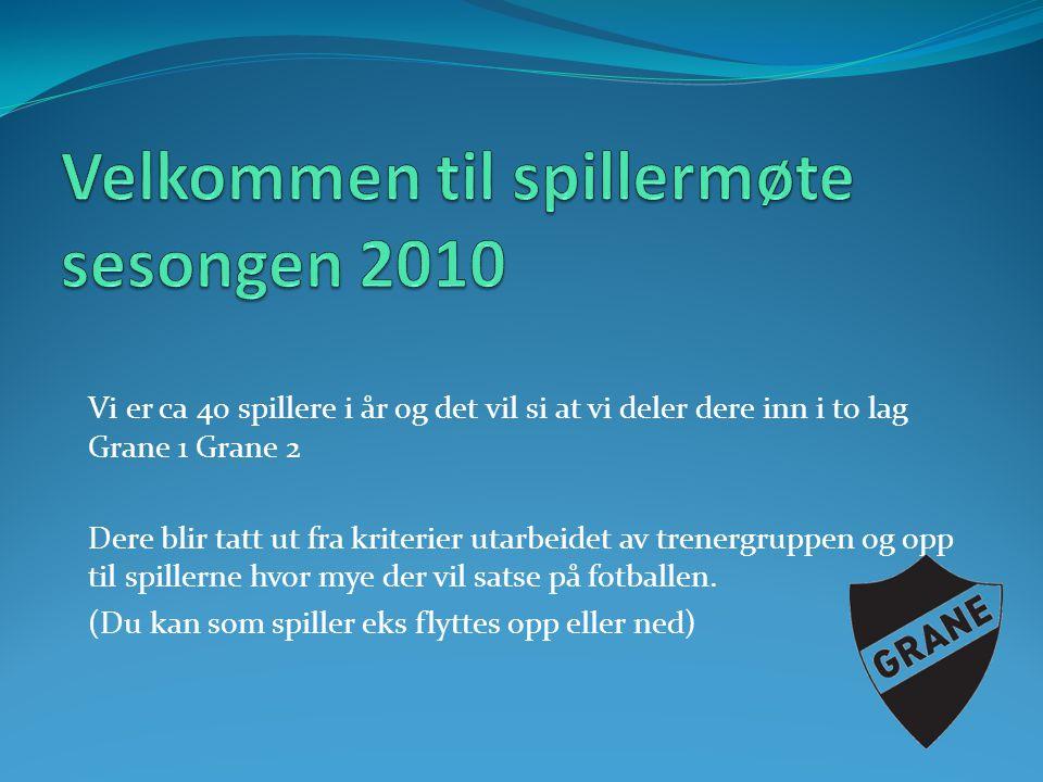 Velkommen til spillermøte sesongen 2010