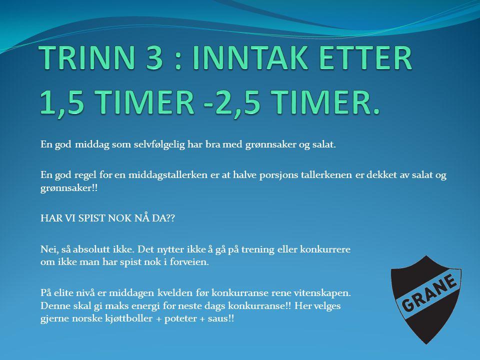 TRINN 3 : INNTAK ETTER 1,5 TIMER -2,5 TIMER.
