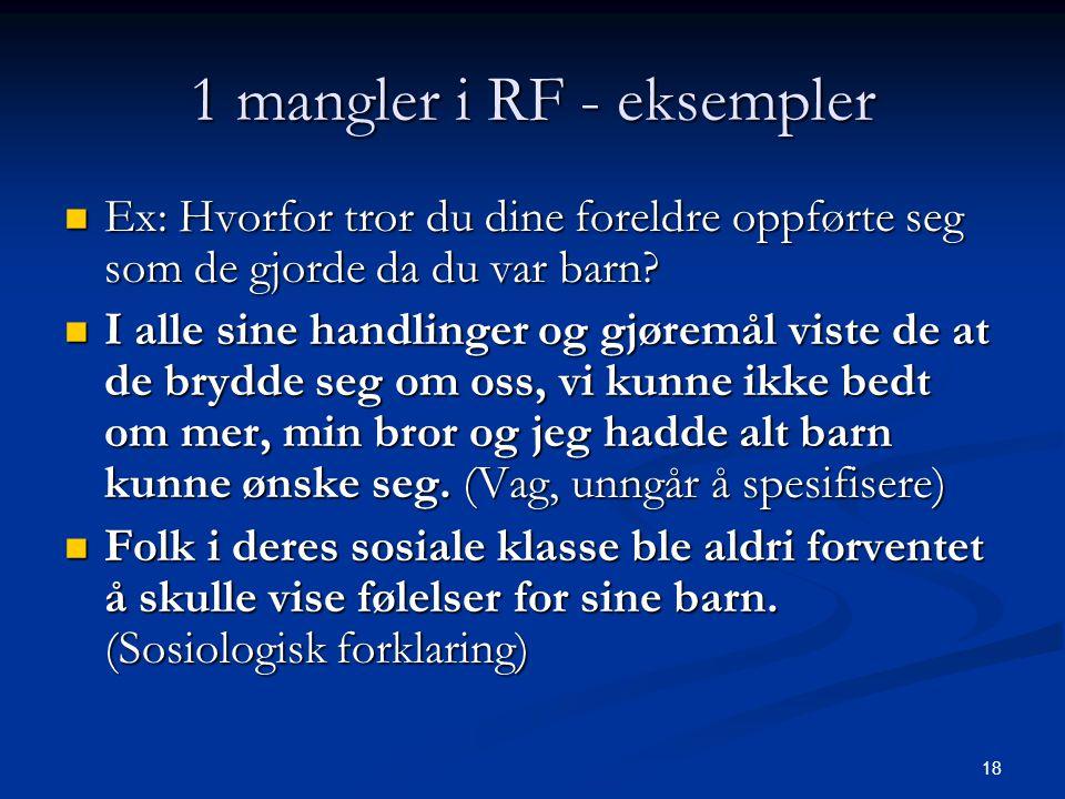 1 mangler i RF - eksempler