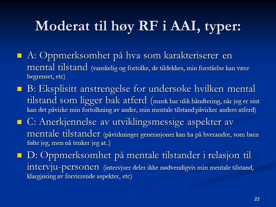 Moderat til høy RF i AAI, typer: