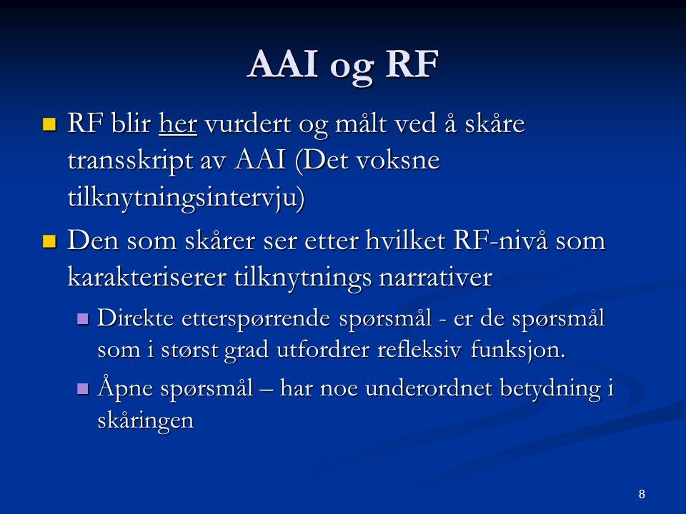 AAI og RF RF blir her vurdert og målt ved å skåre transskript av AAI (Det voksne tilknytningsintervju)