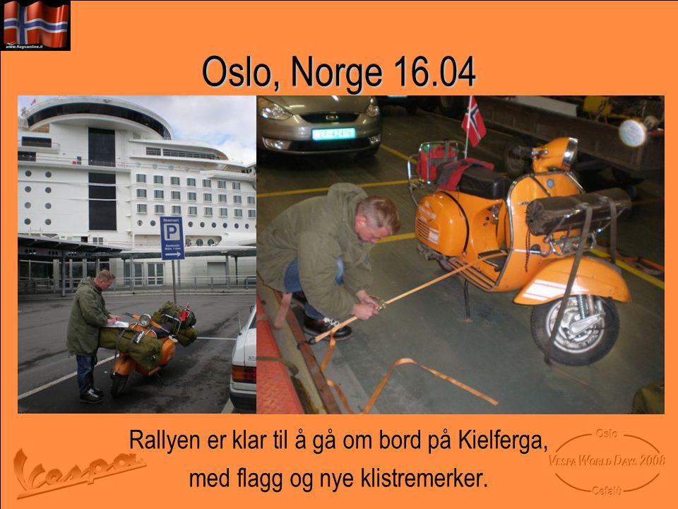 Oslo, Norge 16.04 Rallyen er klar til å gå om bord på Kielferga,
