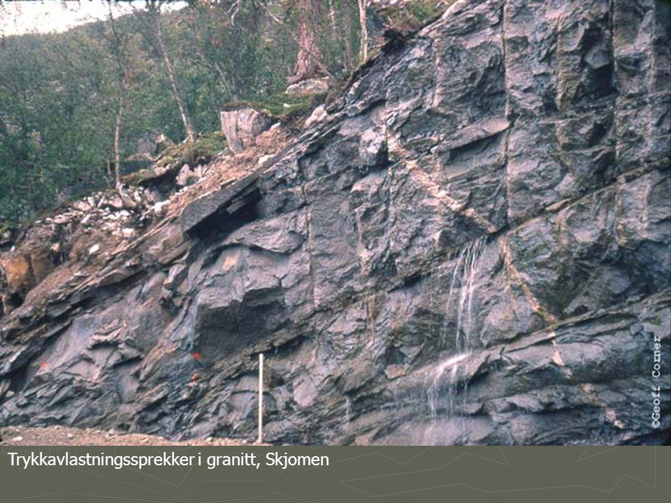 Trykkavlastningssprekker i granitt, Skjomen