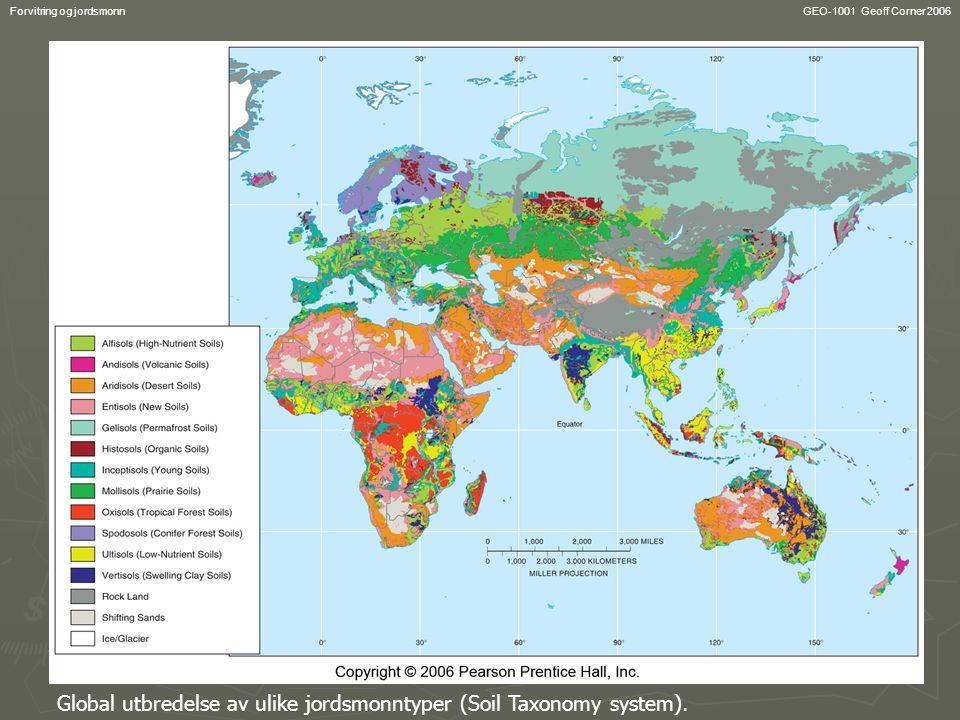 Global utbredelse av ulike jordsmonntyper (Soil Taxonomy system).