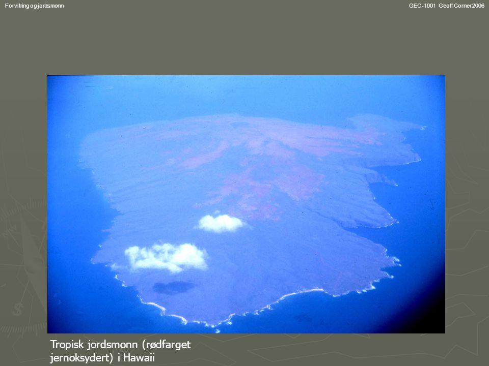 Tropisk jordsmonn (rødfarget jernoksydert) i Hawaii