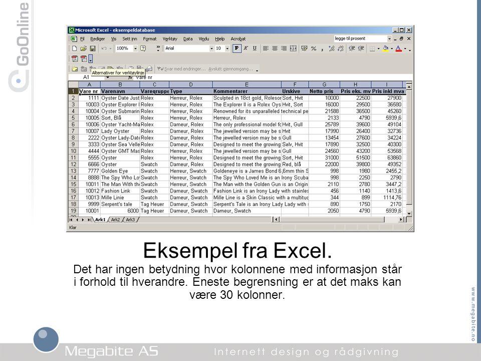 Eksempel fra Excel.
