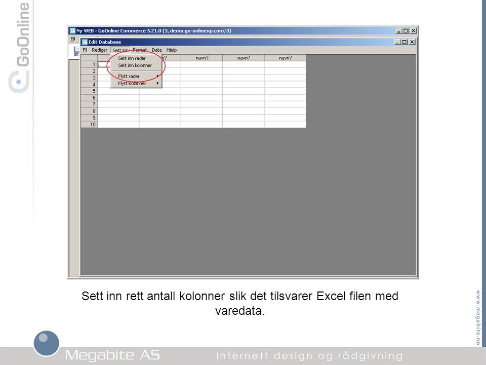 Sett inn rett antall kolonner slik det tilsvarer Excel filen med varedata.