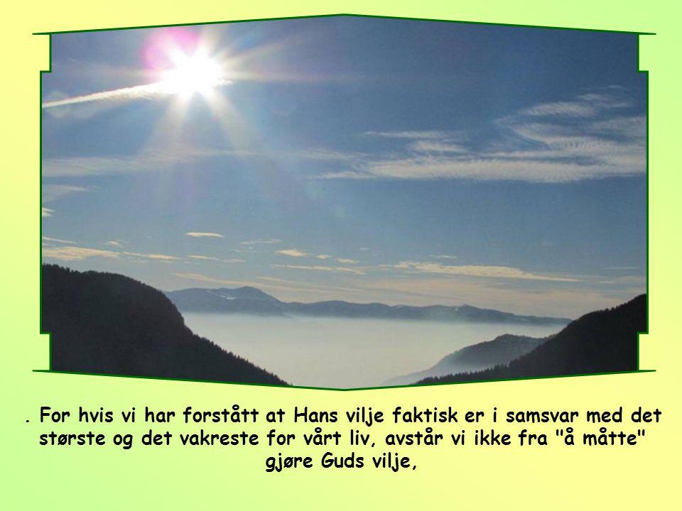 . For hvis vi har forstått at Hans vilje faktisk er i samsvar med det største og det vakreste for vårt liv, avstår vi ikke fra å måtte gjøre Guds vilje,