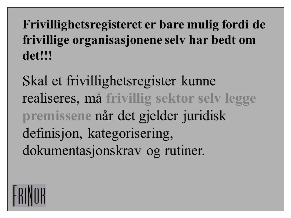 Frivillighetsregisteret er bare mulig fordi de frivillige organisasjonene selv har bedt om det!!!