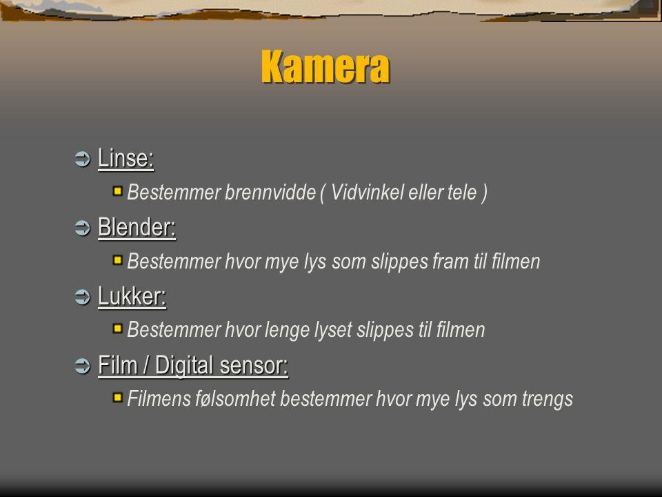 Kamera Linse: Blender: Lukker: Film / Digital sensor: