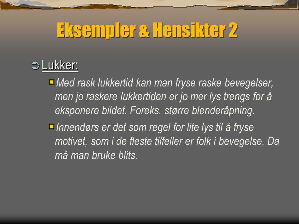 Eksempler & Hensikter 2 Lukker: