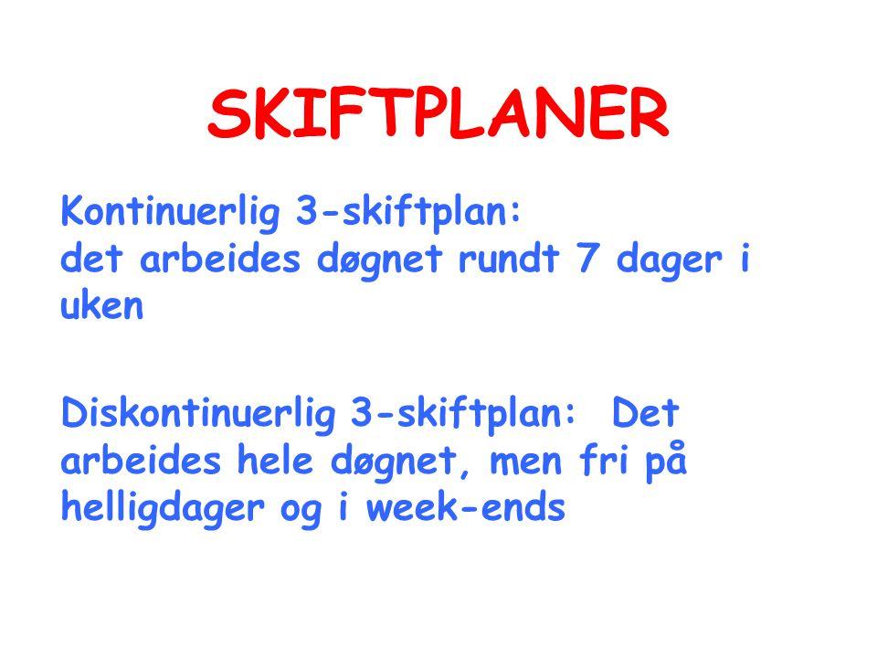 SKIFTPLANER Kontinuerlig 3-skiftplan: