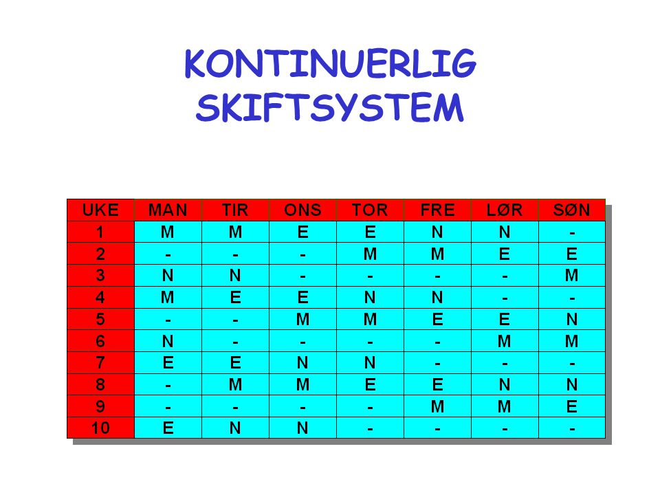 KONTINUERLIG SKIFTSYSTEM