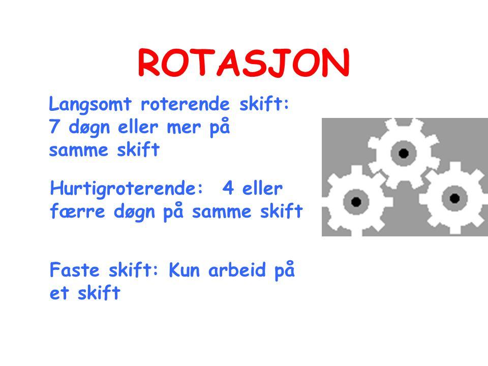 ROTASJON Langsomt roterende skift: 7 døgn eller mer på samme skift