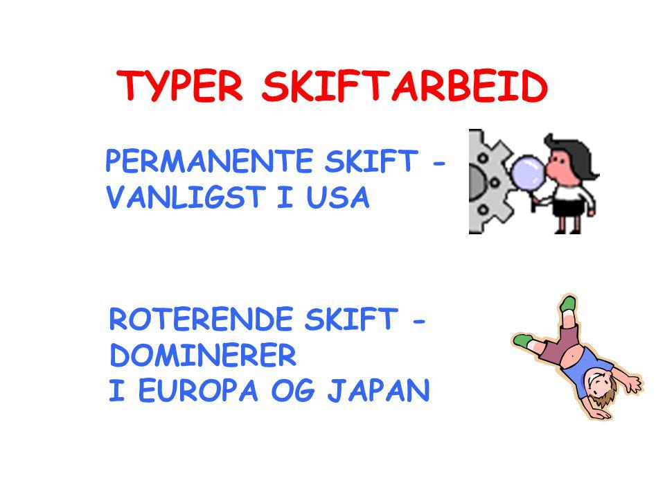 TYPER SKIFTARBEID PERMANENTE SKIFT - VANLIGST I USA ROTERENDE SKIFT -