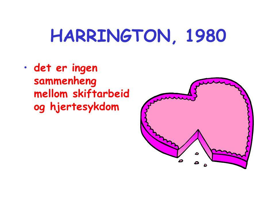 HARRINGTON, 1980 det er ingen sammenheng mellom skiftarbeid og hjertesykdom