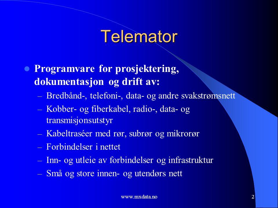 Telemator Programvare for prosjektering, dokumentasjon og drift av:
