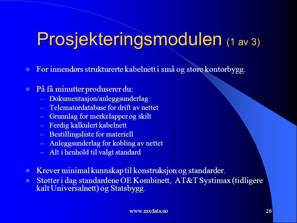 Prosjekteringsmodulen (1 av 3)