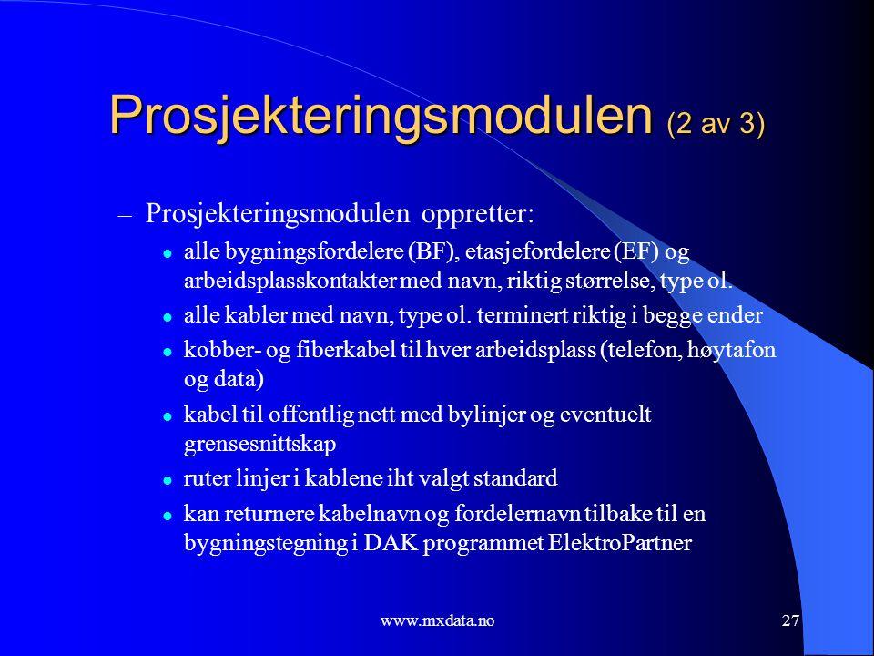 Prosjekteringsmodulen (2 av 3)