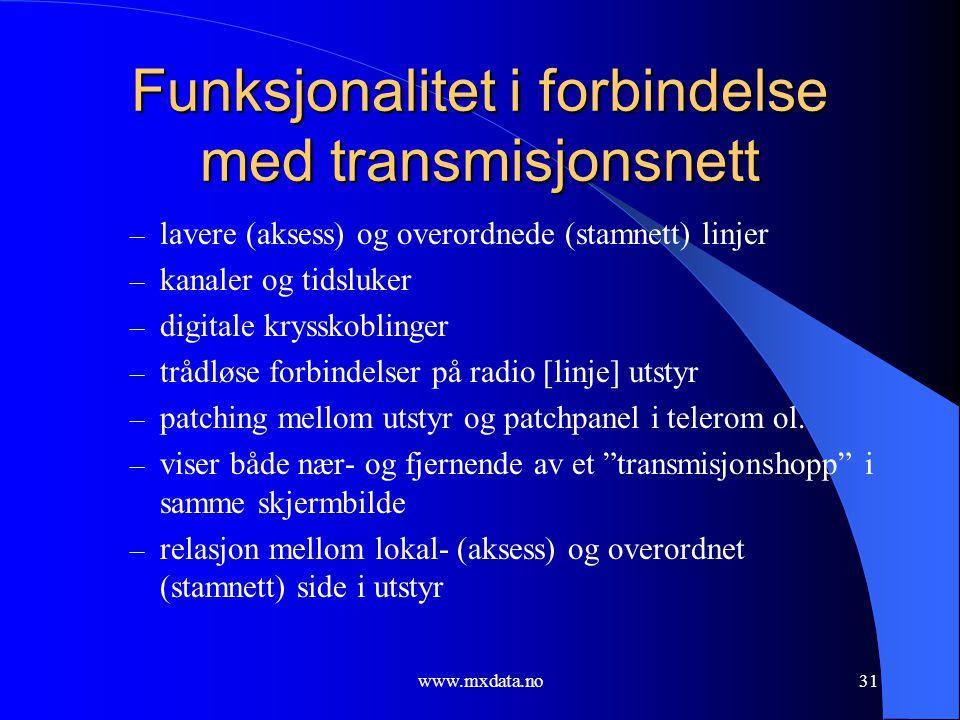 Funksjonalitet i forbindelse med transmisjonsnett