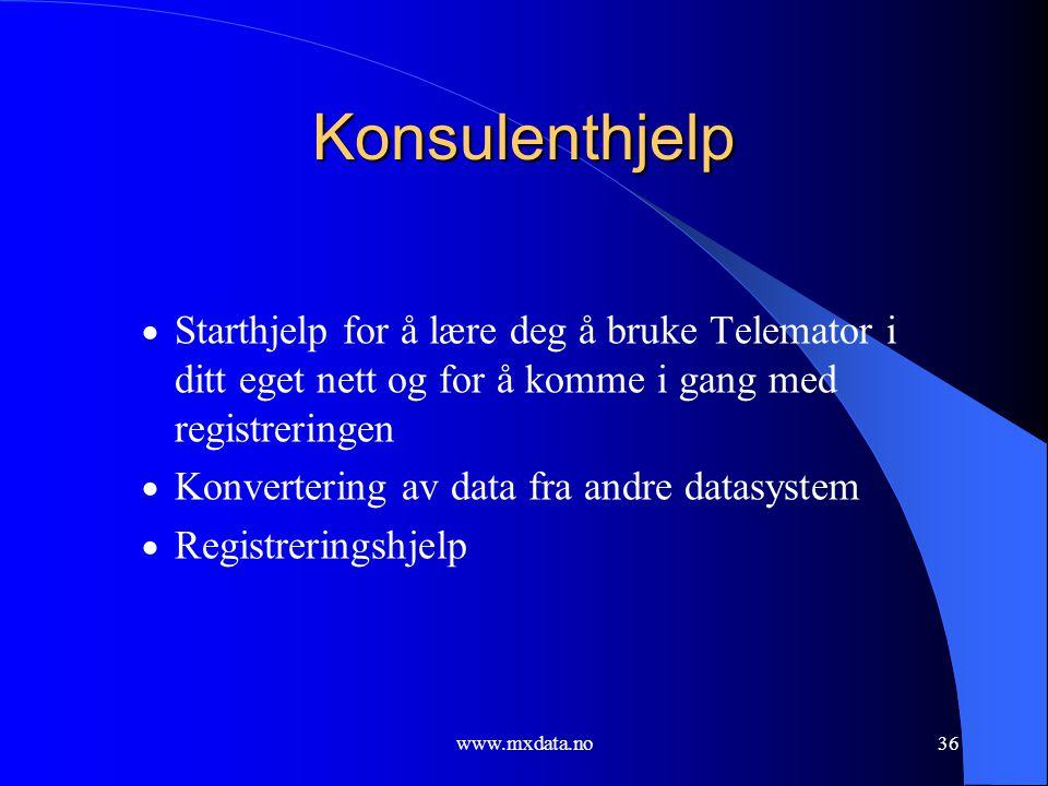 Konsulenthjelp Starthjelp for å lære deg å bruke Telemator i ditt eget nett og for å komme i gang med registreringen.