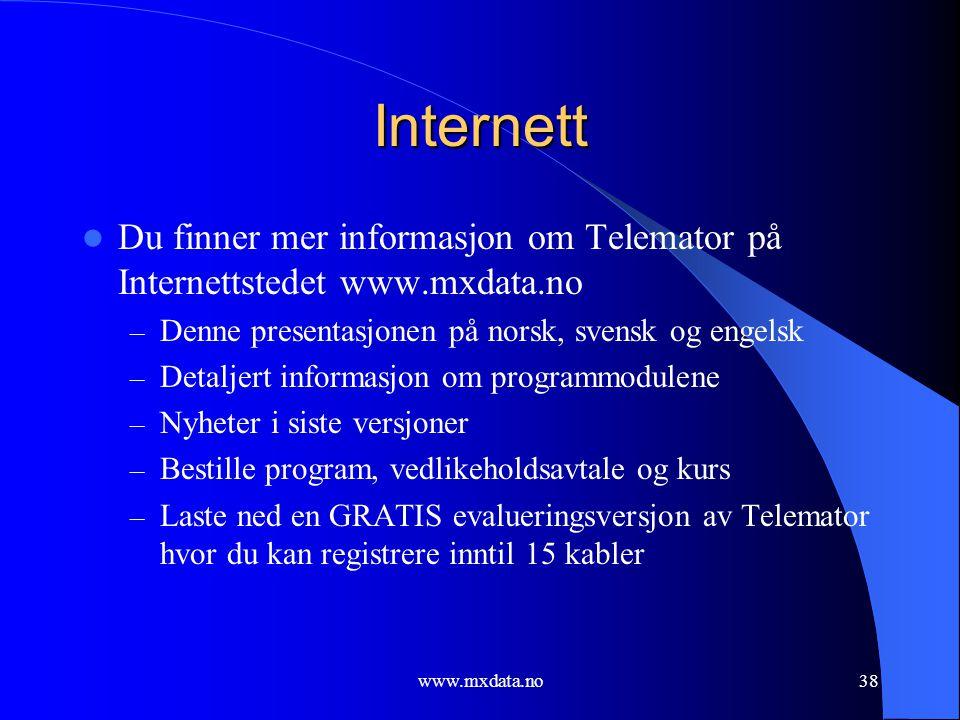Internett Du finner mer informasjon om Telemator på Internettstedet www.mxdata.no. Denne presentasjonen på norsk, svensk og engelsk.
