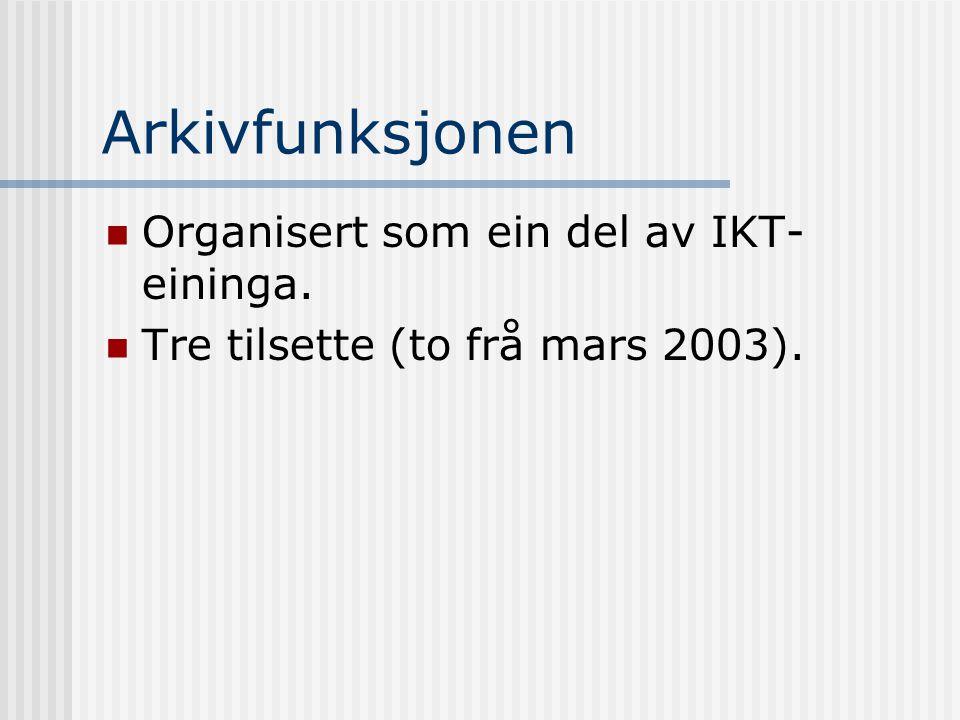 Arkivfunksjonen Organisert som ein del av IKT-eininga.