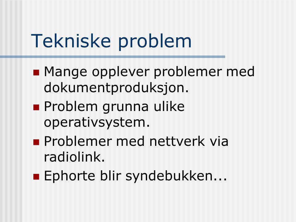 Tekniske problem Mange opplever problemer med dokumentproduksjon.