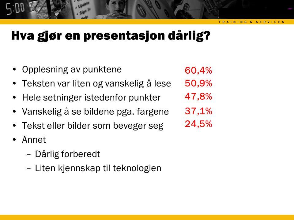 Hva gjør en presentasjon dårlig
