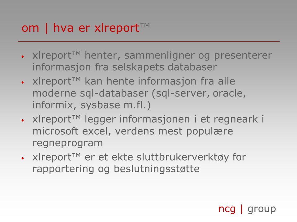 om | hva er xlreport™ xlreport™ henter, sammenligner og presenterer informasjon fra selskapets databaser.