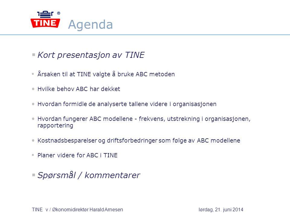 Agenda Kort presentasjon av TINE Spørsmål / kommentarer