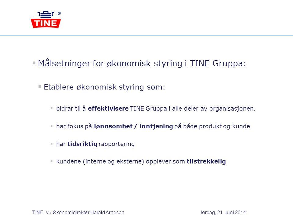 Målsetninger for økonomisk styring i TINE Gruppa: