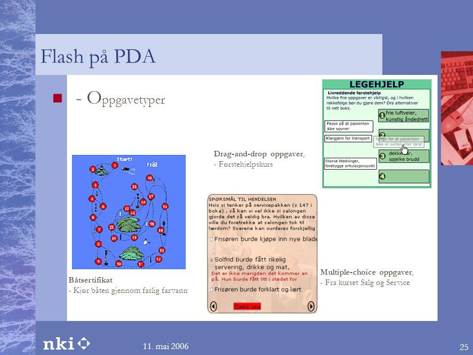 Flash på PDA - Oppgavetyper 11. mai 2006