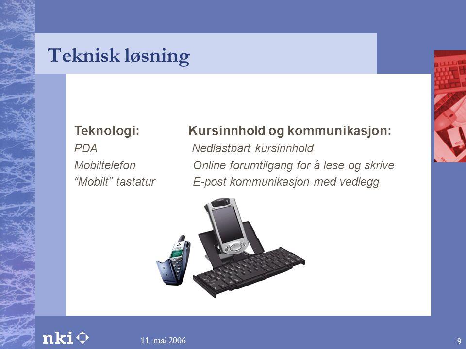 Teknisk løsning Teknologi: Kursinnhold og kommunikasjon: