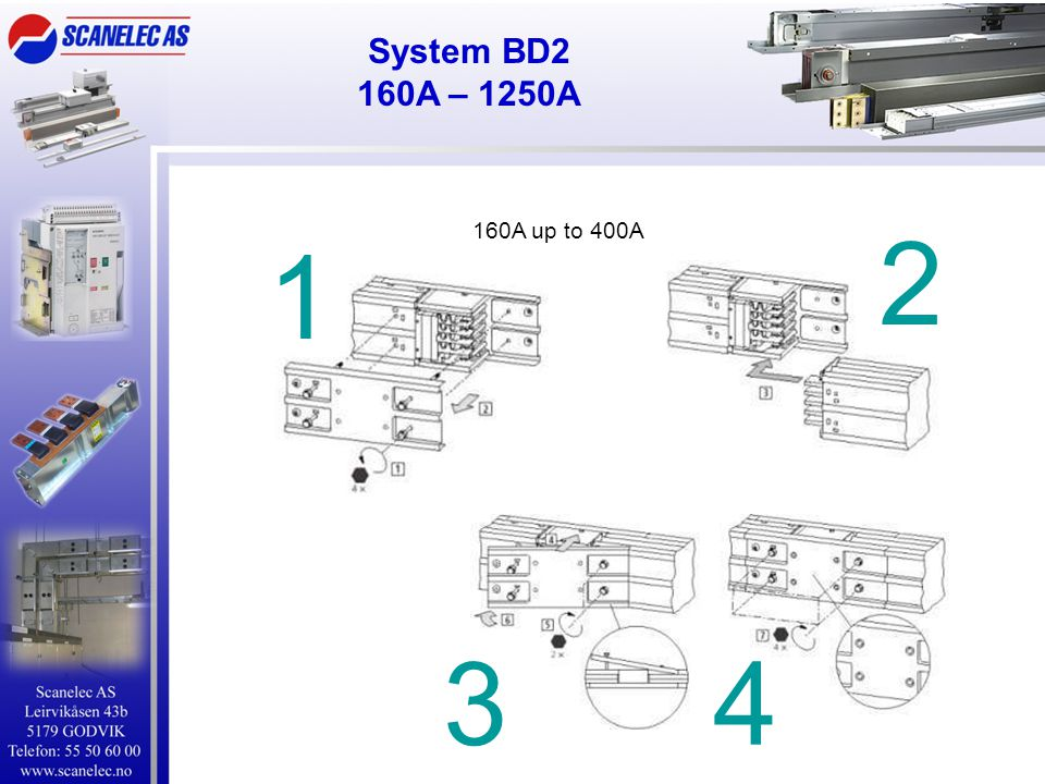 System BD2 160A – 1250A 160A up to 400A 2 1 3 4