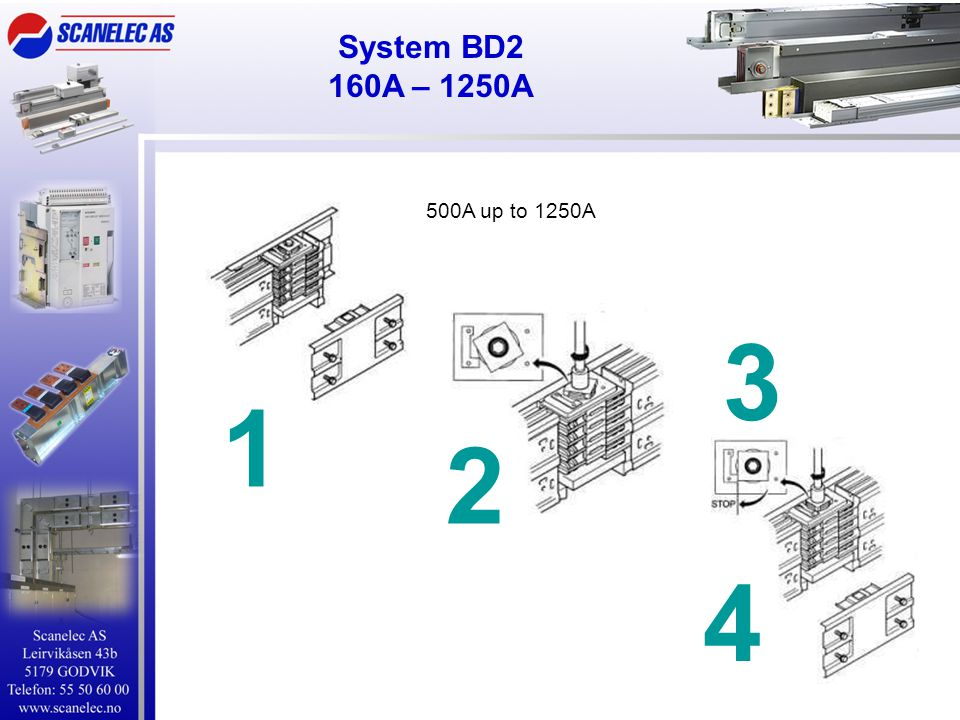 System BD2 160A – 1250A 500A up to 1250A 3 1 2 4