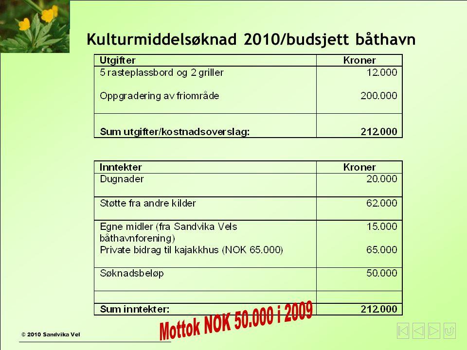 Kulturmiddelsøknad 2010/budsjett båthavn