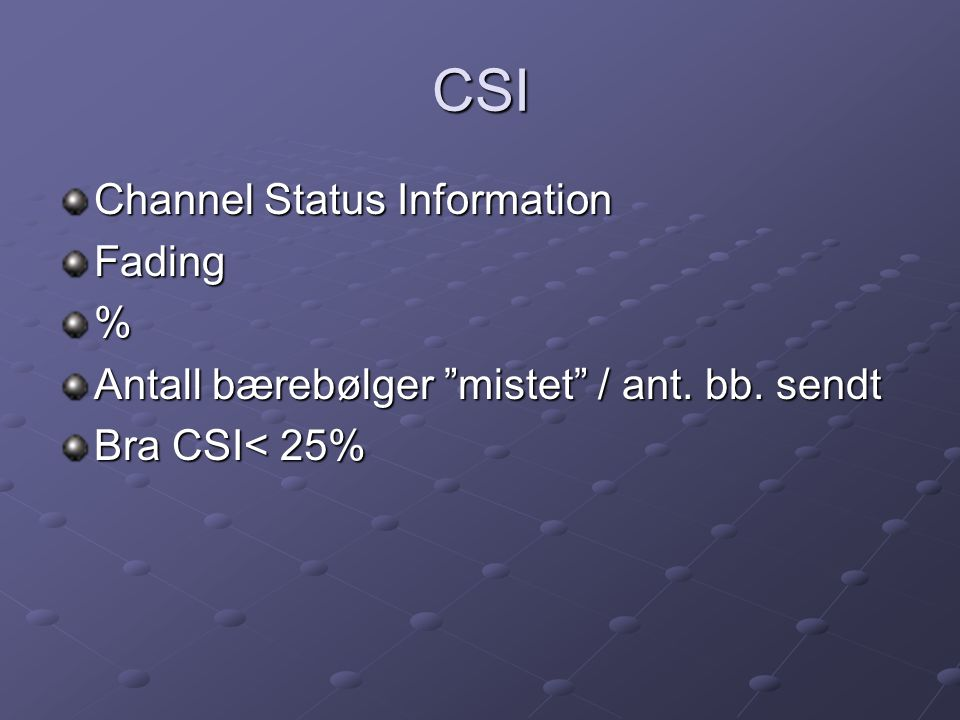 CSI Channel Status Information Fading %