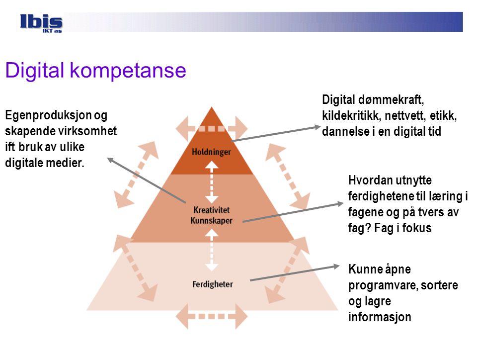 Digital kompetanse Digital dømmekraft, kildekritikk, nettvett, etikk,