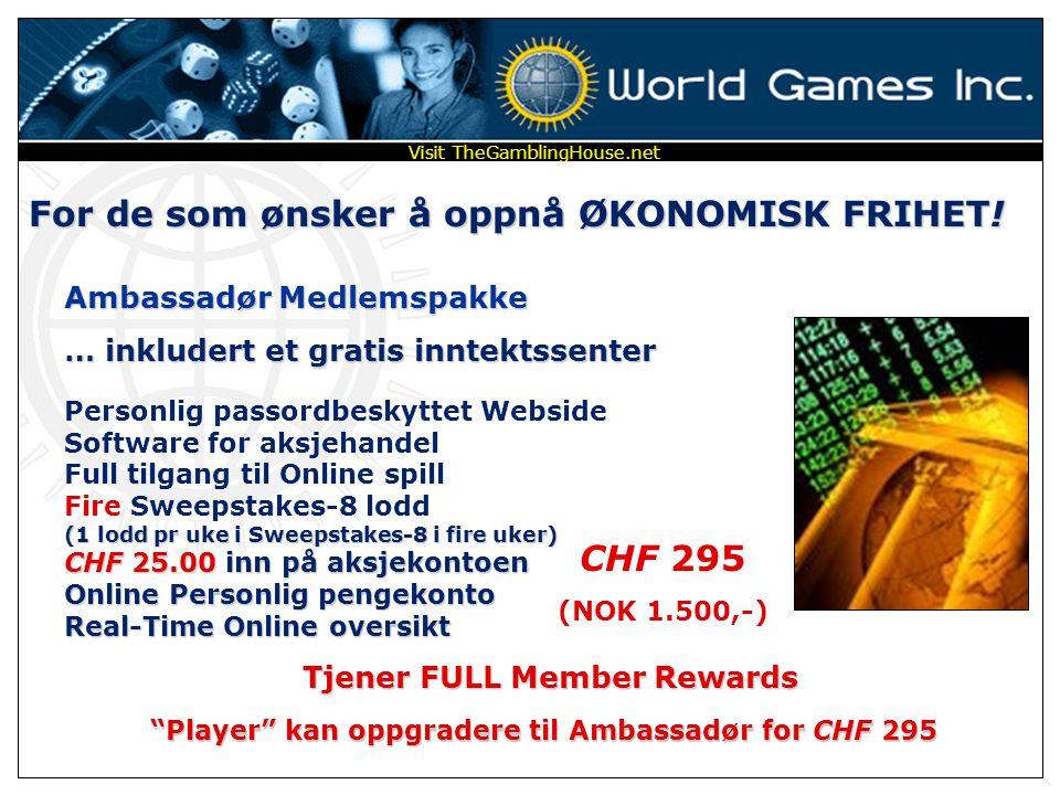 Player kan oppgradere til Ambassadør for CHF 295