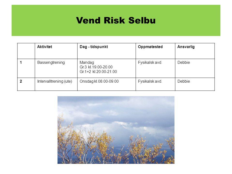 Selbu Vend Risk Selbu Aktivitet Dag - tidspunkt Oppmøtested Ansvarlig