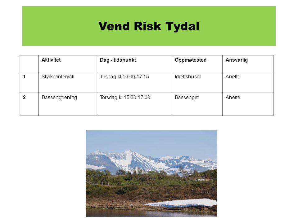 Vend Risk Tydal Aktivitet Dag - tidspunkt Oppmøtested Ansvarlig 1