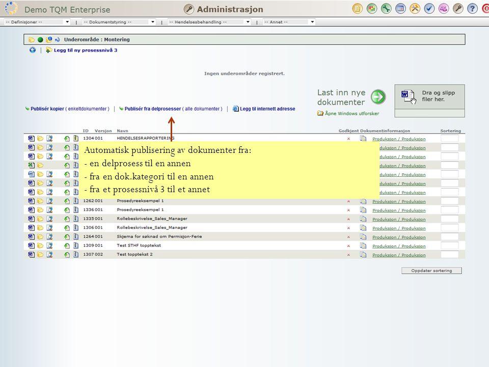 Automatisk publisering av dokumenter fra: - en delprosess til en annen - fra en dok.kategori til en annen - fra et prosessnivå 3 til et annet