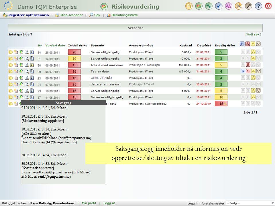 Saksgangslogg inneholder nå informasjon vedr opprettelse/sletting av tiltak i en risikovurdering
