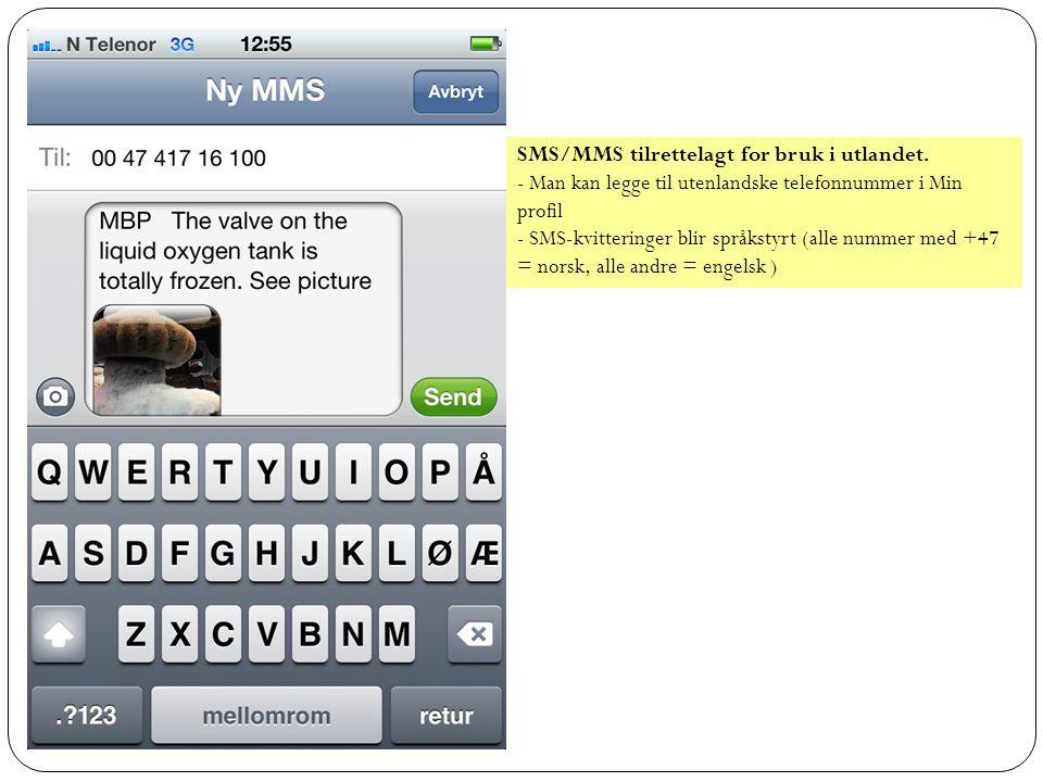 SMS/MMS tilrettelagt for bruk i utlandet