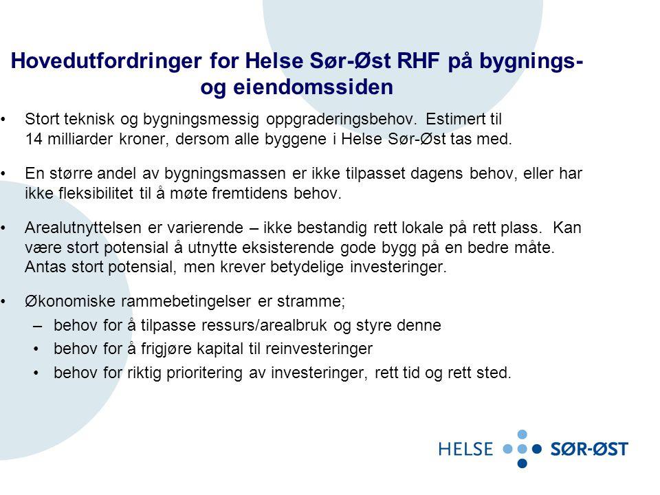 Hovedutfordringer for Helse Sør-Øst RHF på bygnings- og eiendomssiden